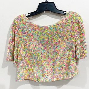 ASOS Neon Colorful Sequin Cropped Top